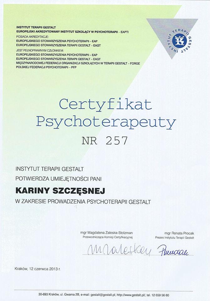 Karina Szczęsna Psychoterapia Gestalt Poznań